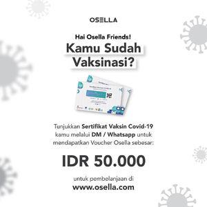 Good news untuk kamu yang sudah vaksin! Sebagai bentuk apresiasi, Osella mau kasih kamu voucher  belanja sebesar IDR 50.000. Caranya? cukup dengan cara menunjukan sertfikat vaksin kalian melalui DM/Wahatsapp Osella, ya.  Shop online from home with Osella! linktr.ee/osella.shopnow